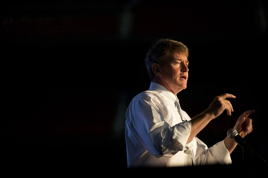 Missouri Attorney General Chris Koster speaks at the Truman Dinner, the Missouri Democratic Party's annual gathering.