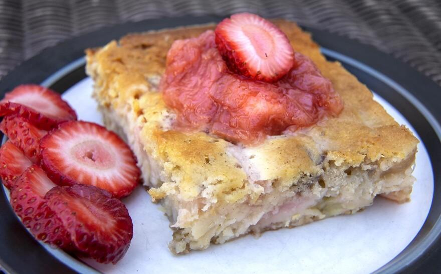 Rhubarb-buttermilk cake, from Chef Kathy Gunst. (Robin Lubbock/WBUR)