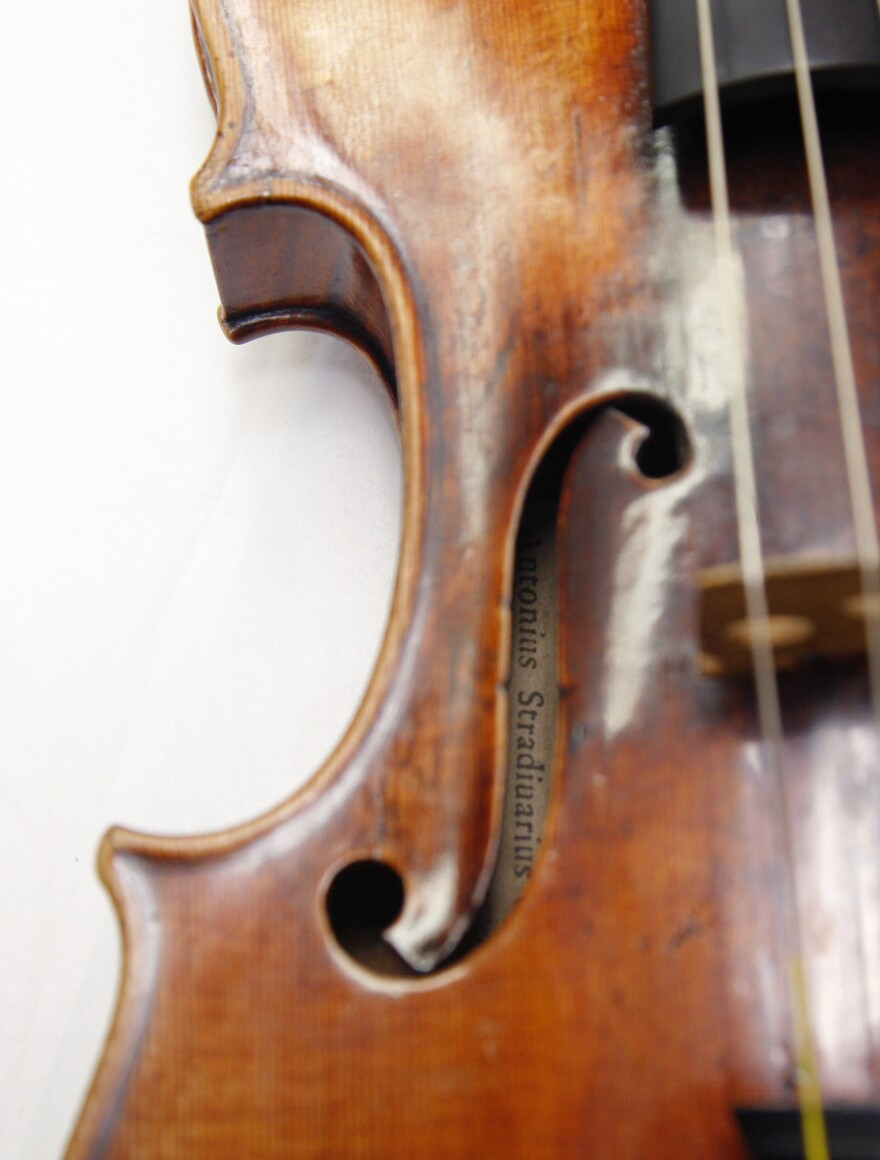 A Stradivarius violin is pictured in December 2009 at the restoration and research laboratory of the Musee de la Musique in Paris.