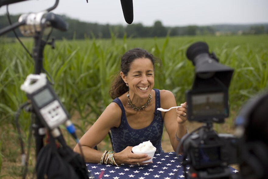 """Filmmaker Julie Winokur sits at """"The Table"""" at Maple View Farm in Hillsborough, N.C. She is traveling the country with a folding table and a star-spangled tablecloth, asking people to share their political beliefs."""