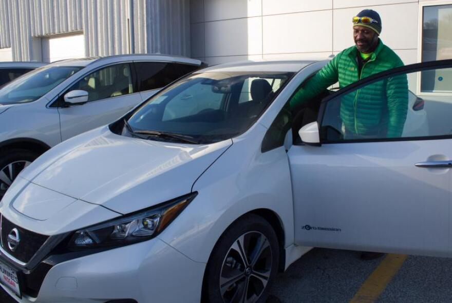 At Hummel's Nissan in Des Moines, Iowa, Kevin Caldwell has seen interest in the electric Leaf grow.