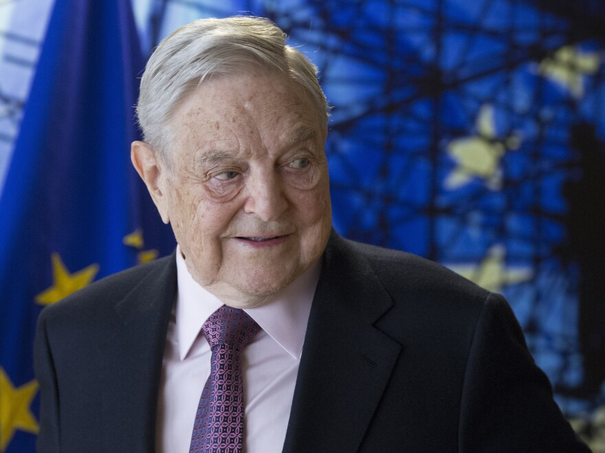 George Soros waits for the start of a meeting at EU headquarters in Brussels in 2017. A mailed explosive device was discovered at his home on Monday afternoon.