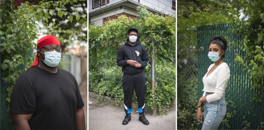 <strong>From left:</strong> Jamar Thompson, 17; Jaheim Birch-Gentles, 17; Brianna Johnson, 18, in Brooklyn, N.Y.
