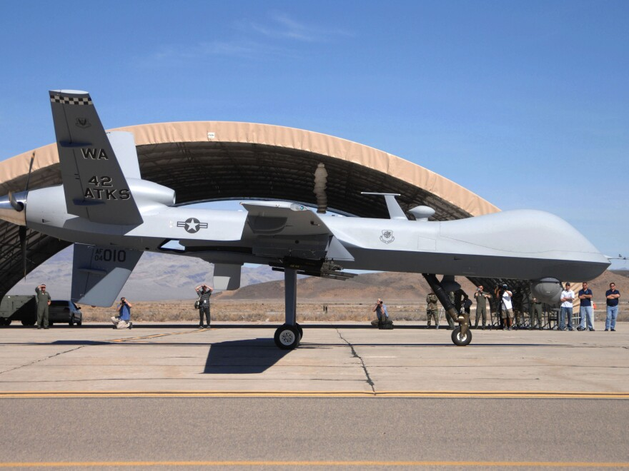 A 2007 file photo released by the Department of Defense, An MQ-9 Reaper unmanned aerial vehicle.