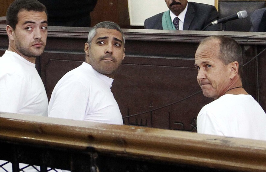 Al-Jazeera English producer Baher Mohamed (from left), Canadian-Egyptian acting Cairo bureau chief Mohamed Fahmy and correspondent Peter Greste appear in court along with several other defendants during their trial on terrorism charges in Cairo, Egypt.