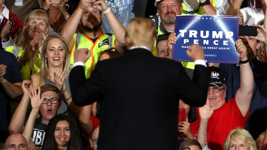 Supporters cheer for President Trump during a campaign rally last week in Great Falls, Mont. Interviews with over 50 Republican voters show satisfaction with the president's accomplishments and enthusiasm about this year's election.