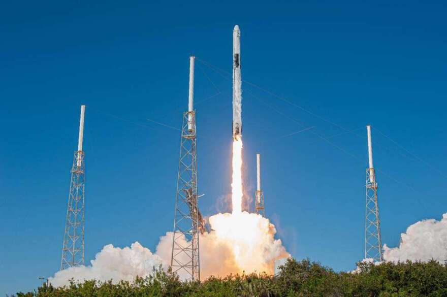 A SpaceX Falcon 9 rocket lifts off from Space Launch Complex 40 at Cape Canaveral Air Force Station on Dec. 5, 2019, carrying the Dragon spacecraft on the company's 19th Commercial Resupply Services mission to the International Space Station.