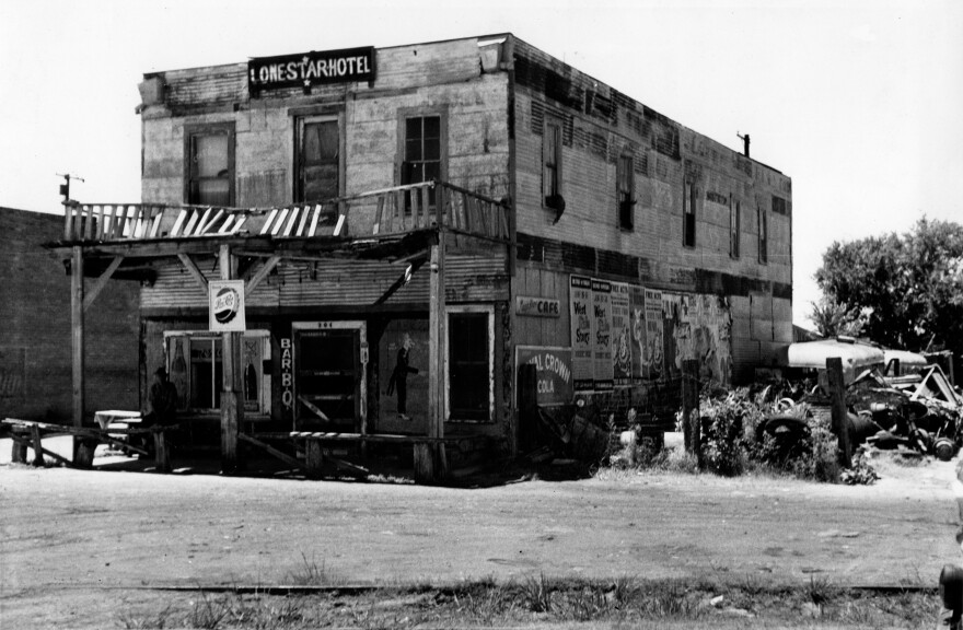 """The Lone Star Hotel, seen here in 1960, provided lodging for black patrons in Terrell, Texas. From the cover of Paul Oliver and Mack McCormick's new book, """"The Blues Come to Texas."""""""