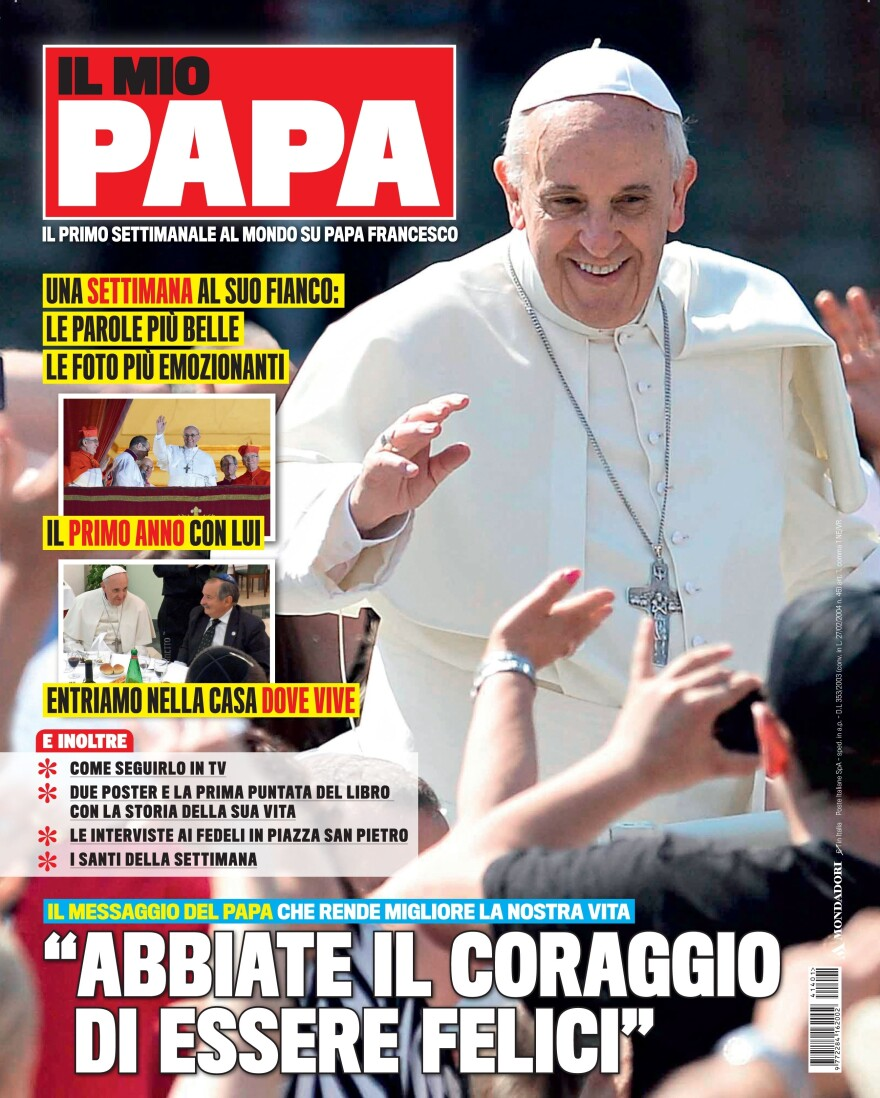 Publisher Mondadori provided this image of the first issue of <em>Il Mio Papa</em> (<em>My Pope</em>) on  Tuesday, a day before it was slated to hit Italian newsstands.