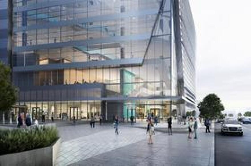 Ground level rendering of the USF Health Morsani College of Medicine and the USF Health Heart Institute.