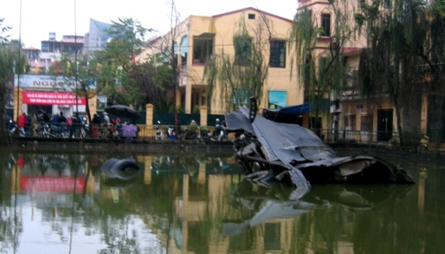 Wreckage from a downed B-52 that remains on display in Hanoi.