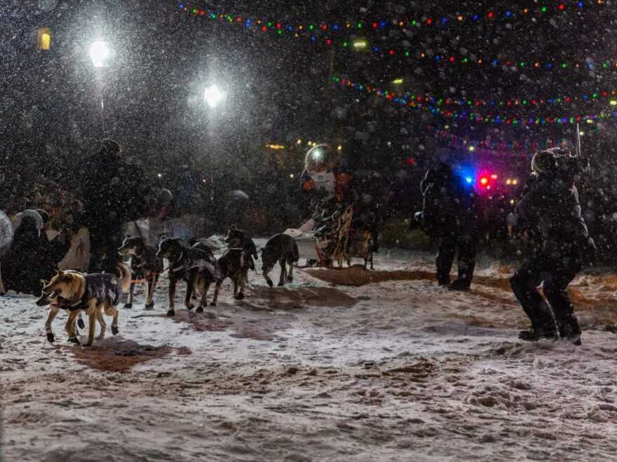 Peter Kaiser and his team of dogs crossed the finish line just past 3 a.m. on Wednesday morning.