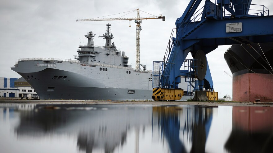 The Vladivostok warship, a Mistral class LHD amphibious vessel ordered by Russia, at the STX France shipyard in Saint-Nazaire, France, on Friday. The Vladivostok is one of two ships Russia ordered from France.