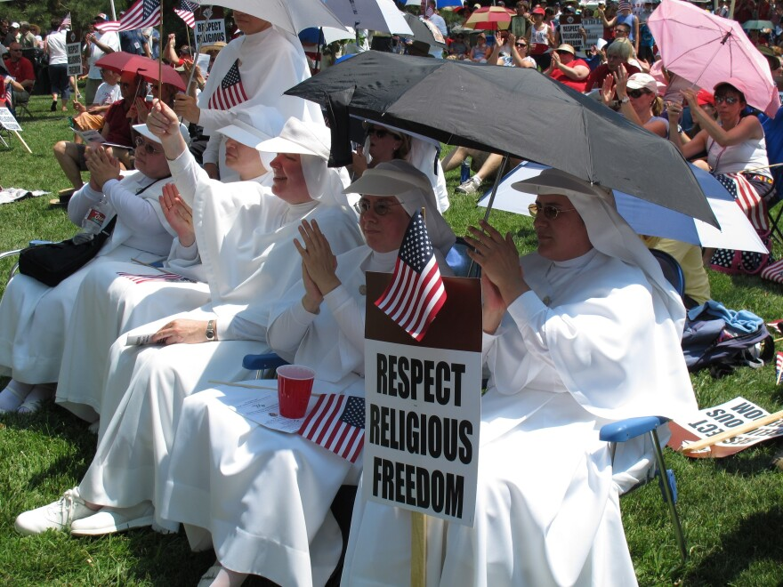 Sisters of the Servants of Mary from Kansas City, Kan., at a rally in 2012. Catholic employers don't want to offer insurance coverage for contraceptives, but Catholic insurance companies have quietly arranged for coverage for years.