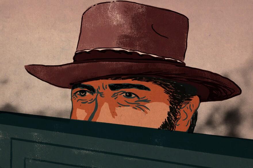 Cowboy walking into a saloon