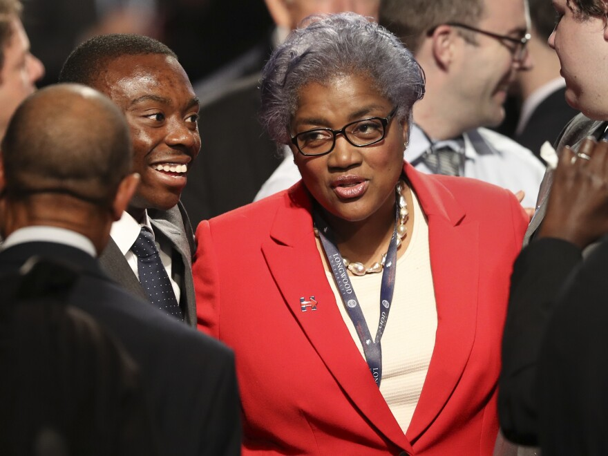 Democratic party chairperson Donna Brazile talks with audience members before the debate between Republican vice-presidential nominee Gov. Mike Pence and Democratic vice-presidential nominee Sen. Tim Kaine at Longwood University in Farmville, Va., in Oct. 2016.