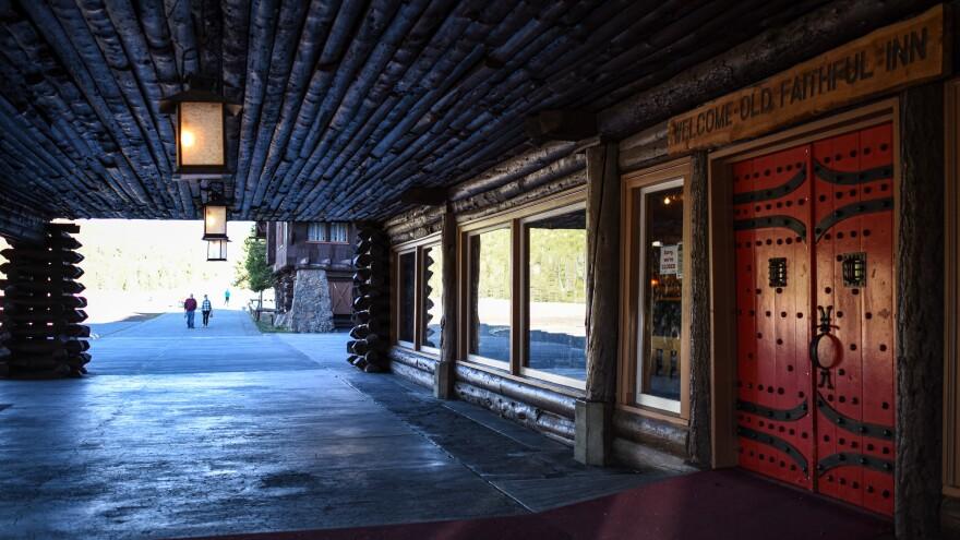 The entrance to the historic Old Faithful Inn.
