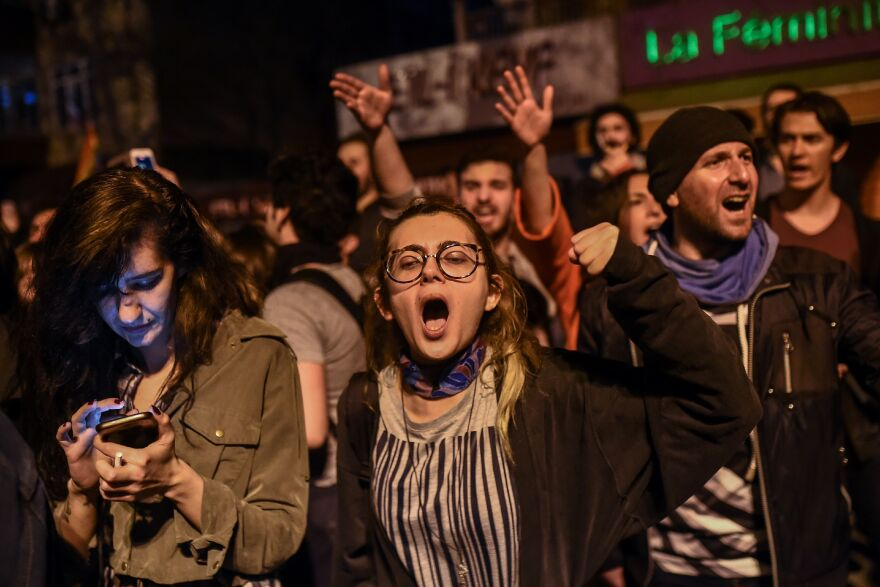 """People who supported a """"No"""" vote protested Sunday in Istanbul following results in a nationwide referendum that will determine Turkey's political future."""