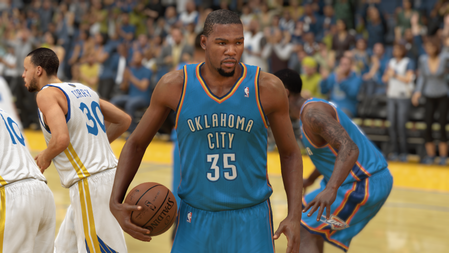 Recently released sports video games are touting how their high-powered graphics portray players like the Oklahoma City Thunder's Kevin Durant realistically. The realism extends to audio as well.