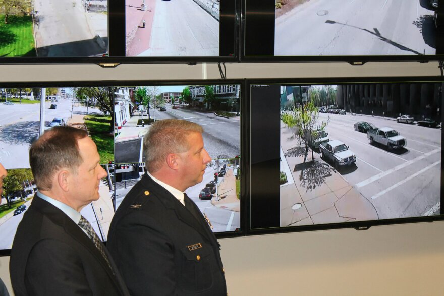 Mayor Francis Slay, left, and St. Louis Metropolitan Police Chief Sam Dotson unveil the new Real Time Crime Center at police headquarters.