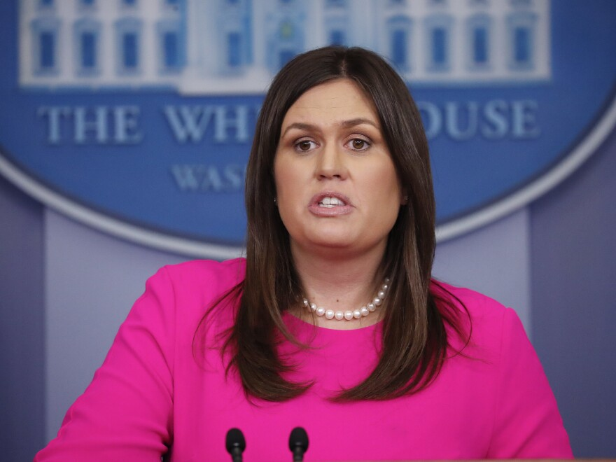 """In a press briefing on Monday, White House press secretary Sarah Sanders said she was asked to leave a restaurant in Lexington, Va., """"because I work for President Trump."""""""