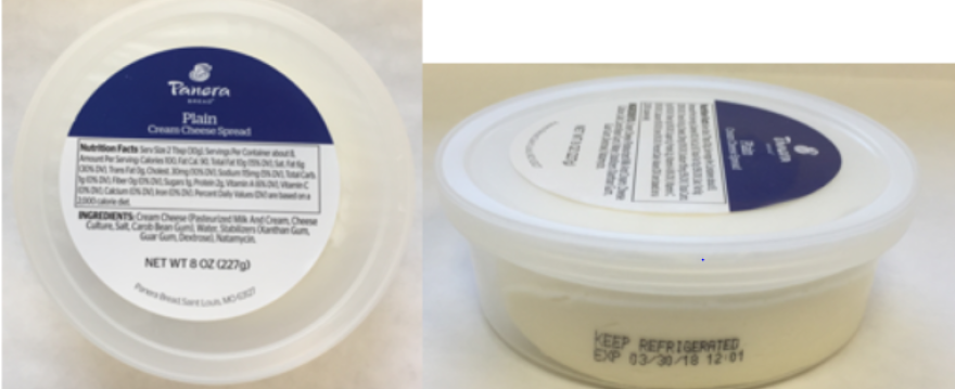 Panera Bread provided images of the varieties of 8 oounce cream cheese included in the recall, including this shot of plain.