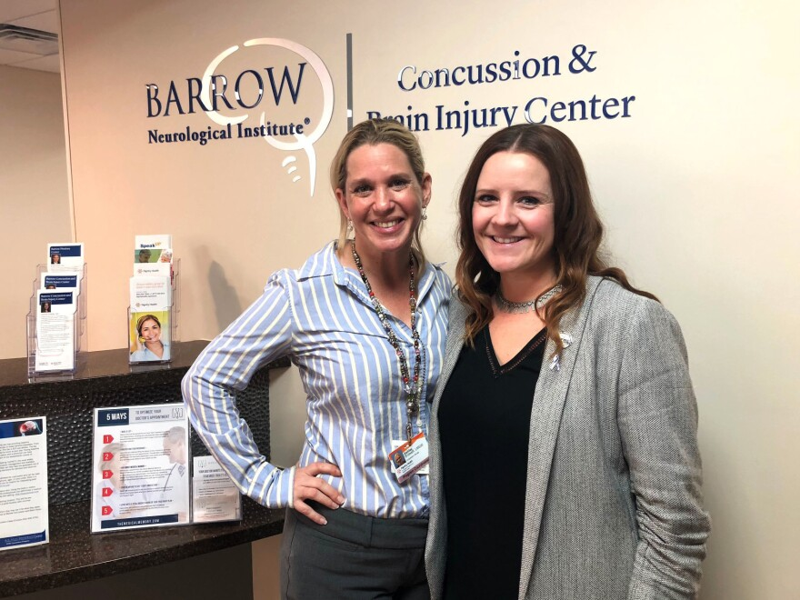 Social worker Ashley Bridwell (left) and Dr. Glynnis Zieman run what they say is the country's first program dedicated to treating traumatic brain injury among survivors of domestic violence.