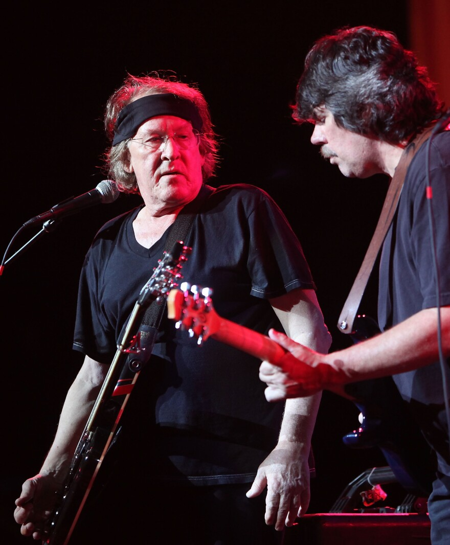 Paul Kantner (left) and Slick Aguilar perform with Jefferson Starship in August 2009 in Bethel, N.Y.