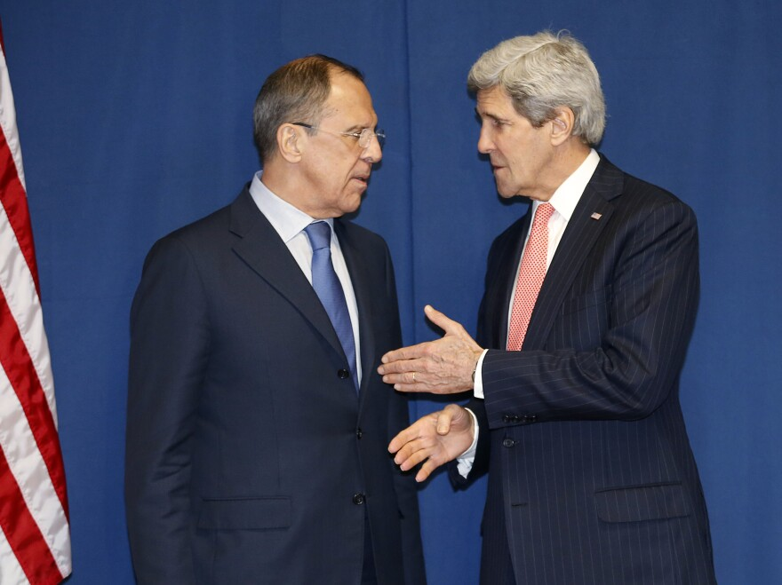 Secretary of State John Kerry talks Thursday with Russian Foreign Minister Sergey Lavrov during a meeting in Rome to discuss Ukraine. Diplomacy is among the several approaches the U.S. is taking to resolve the crisis.
