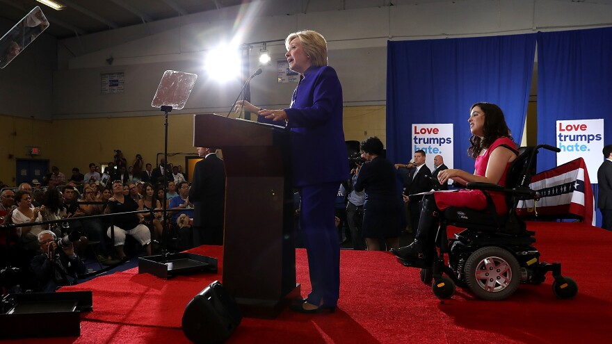 Democratic presidential nominee Hillary Clinton speaks during a campaign event in Orlando, Fla., on Wednesday, where she discussed economic opportunity for Americans with disabilities.