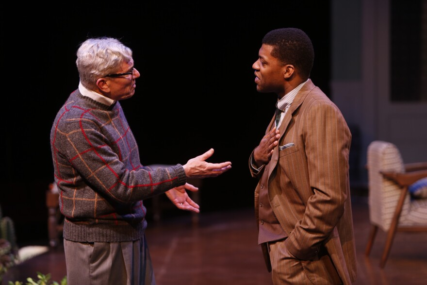 Anderson Matthews, as Matt Drayton, and Richard Prioleau, as John Prentice Jr., perform in The Repertory Theatre of St. Louis' 'Guess Who's Coming to Dinner.'