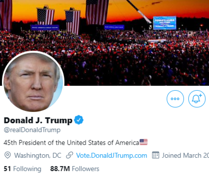 President Trump's Twitter account, @realDonaldTrump, has been permanently suspended, the company announced.