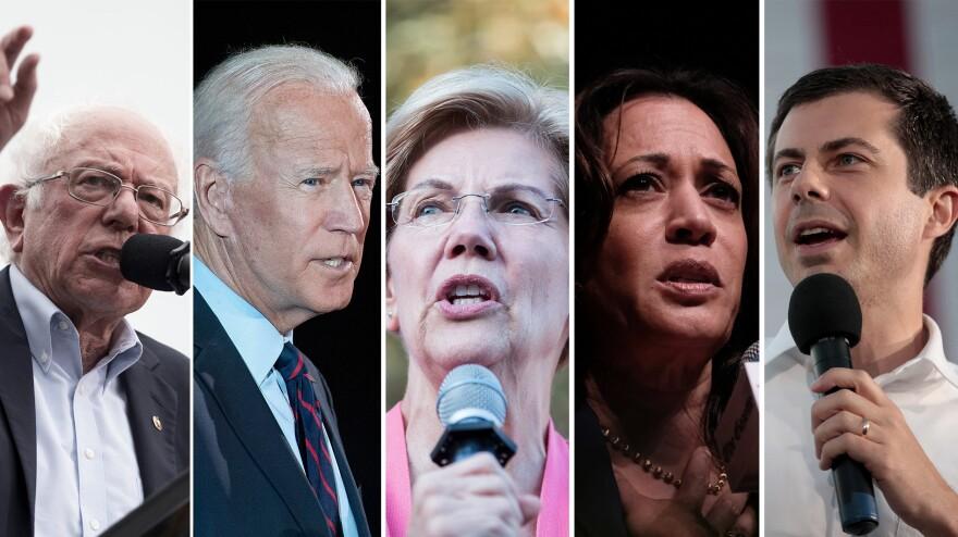 From left to right: Bernie Sanders, Joe Biden, Elizabeth Warren, Kamala Harris and Pete Buttigieg.
