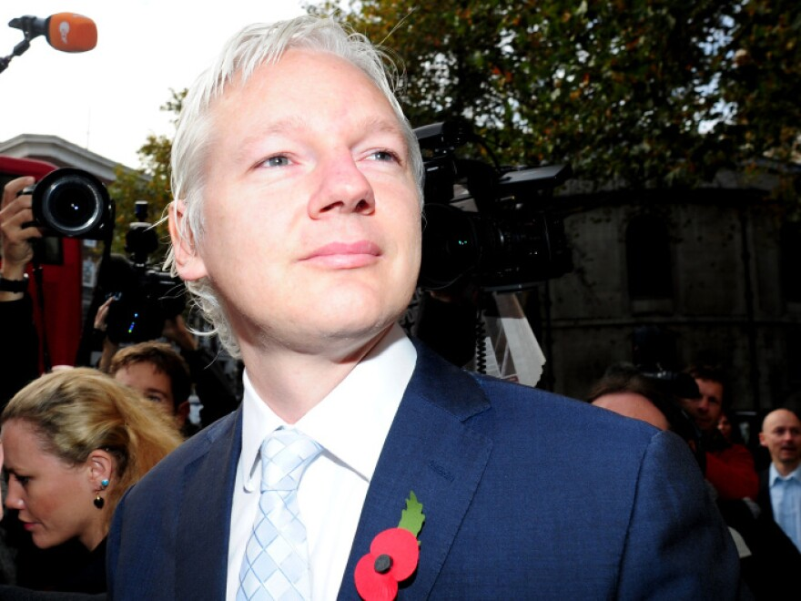 <p>WikiLeaks founder Julian Assange as he arrived at London's High Court this morning (Nov. 2, 2011).</p>