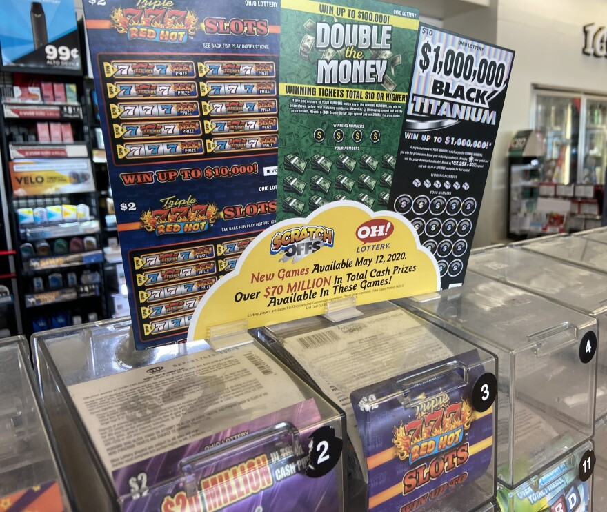 Lottery tickets on display in a gas station convenience store in Columbus.