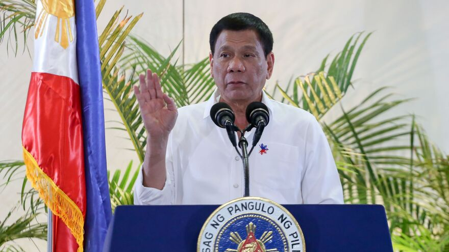 Philippine President Rodrigo Duterte, shown at a news conference at Davao's international airport on Dec. 17, says family planning is critical for reducing poverty.