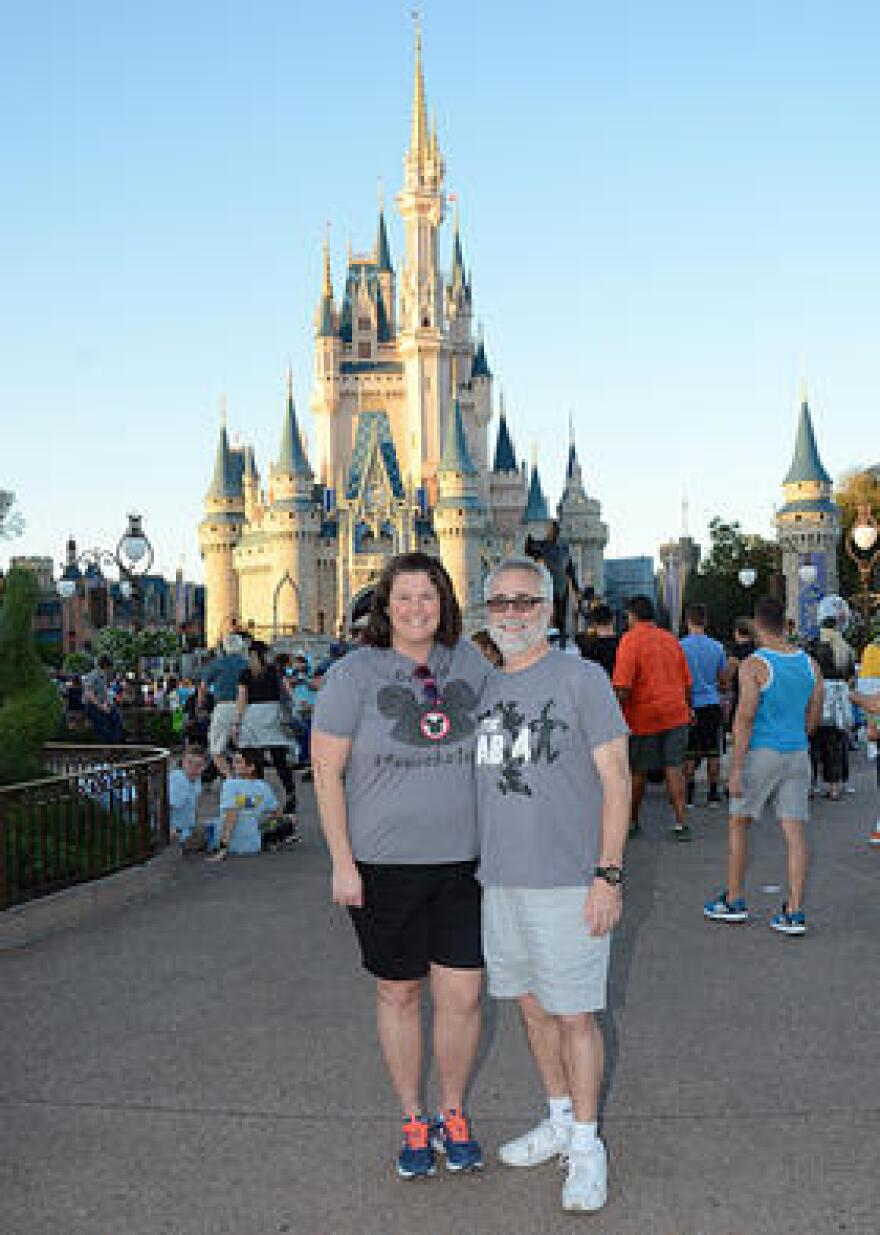 Brian LeBlanc and his wife Shannon celebrating their 9th wedding anniversary at Disney World in February.