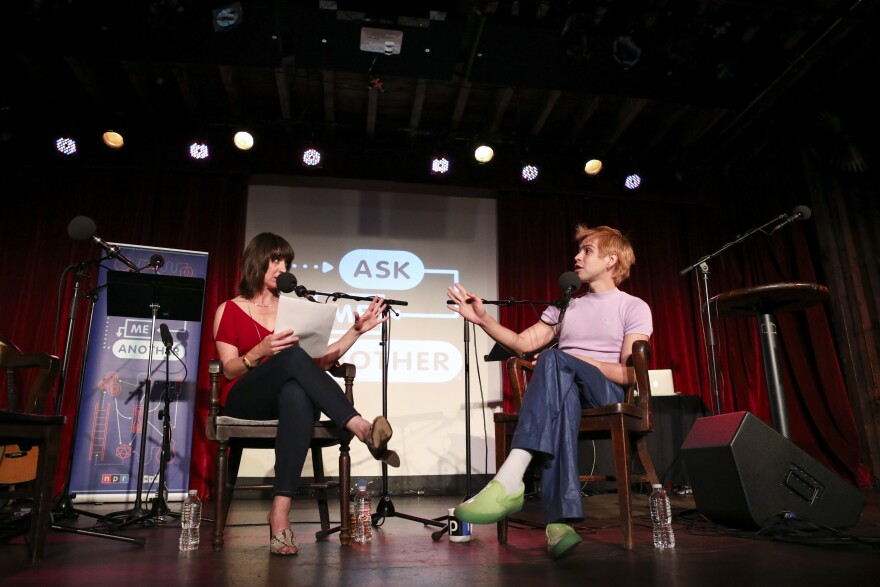 Ophira Eisenberg and Julio Torres chat on <em>Ask Me Another</em> at the Bell House in Brooklyn, New York.
