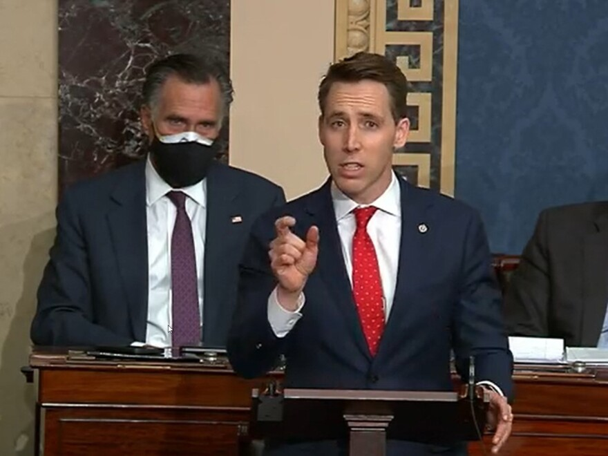 In this screenshot taken from a congress.gov webcast, Missouri Republican Sen. Josh Hawley speaks during a Senate debate session to ratify the 2020 presidential election on JWednesday in Washington, DC.