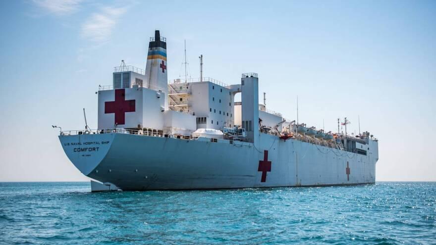 The USNS Comfort Navy hospital ship