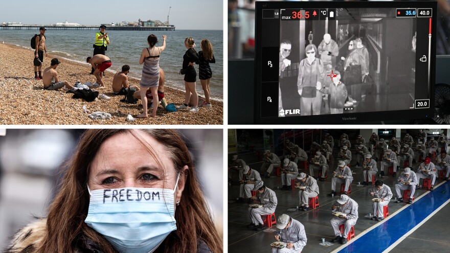 Top left: An officer asks people to observe lockdown rules in Brighton, England. Bottom left: A protester at a lockdown demonstration in Brussels, Belgium last month. Top right: Malaysian health officers screen passengers with a thermal scanner at Kuala Lumpur Airport in January 2020. Bottom right: Employees eat their lunch in Wuhan, China, in March 2020.
