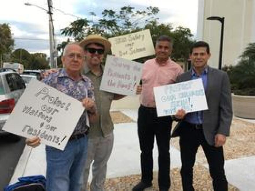 Several dermatologists, including Dr. Andy Weinstein, president of the Florida Society of Dermatology, far right, spoke against the proposed ban, which they said could lead to an increase in skin cancer.