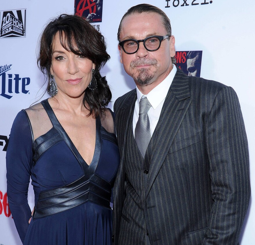 Sagal with her husband,<em> Sons of Anarchy</em> creator Kurt Sutter.