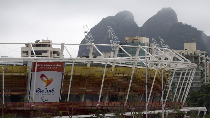 This is a partial view of the tennis center at Olympic Park in Rio de Janeiro. The International Olympic Committee is sending an advisory to participants in the 2016 Summer Games on how to deal with the mosquito-borne Zika virus.
