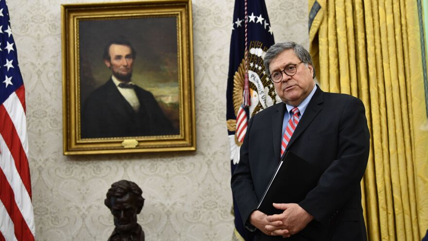 "Attorney General William Barr, at the White House last month, has placed blame for violence on what he calls ""anarchistic and far-left extremists."""