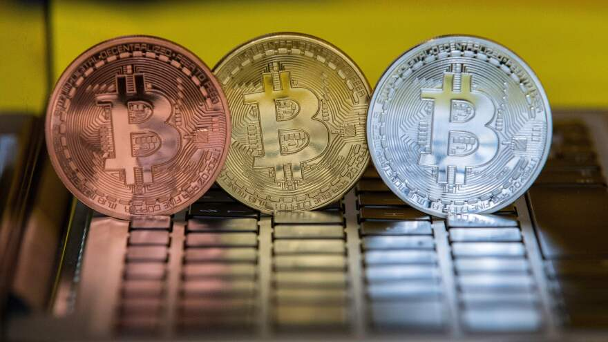 The digital cryptocurrency Bitcoin, shown in a February 6 visual representation, was among the cryptocurrencies targeted by the recent hack of a Japanese exchange.