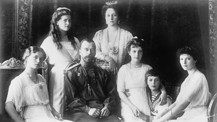 Czar Nicholas II is shown with his family in the 1910s. All were executed shortly after the 1917 Russian Revolution. Remains of the czar, his wife, Alexandra (top right) and their children — Olga (from left), Maria, Anastasia, Alexei and Tatiana — have all been identified. Now the Russian Orthodox Church has ordered new DNA tests to confirm the identities of Maria and Alexei.
