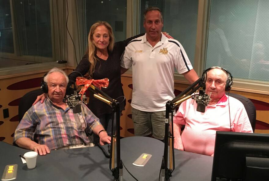 WLRN's Bonnie Berman during the interview with Howard Chandler, Martin Baranek and Mark Baranek.
