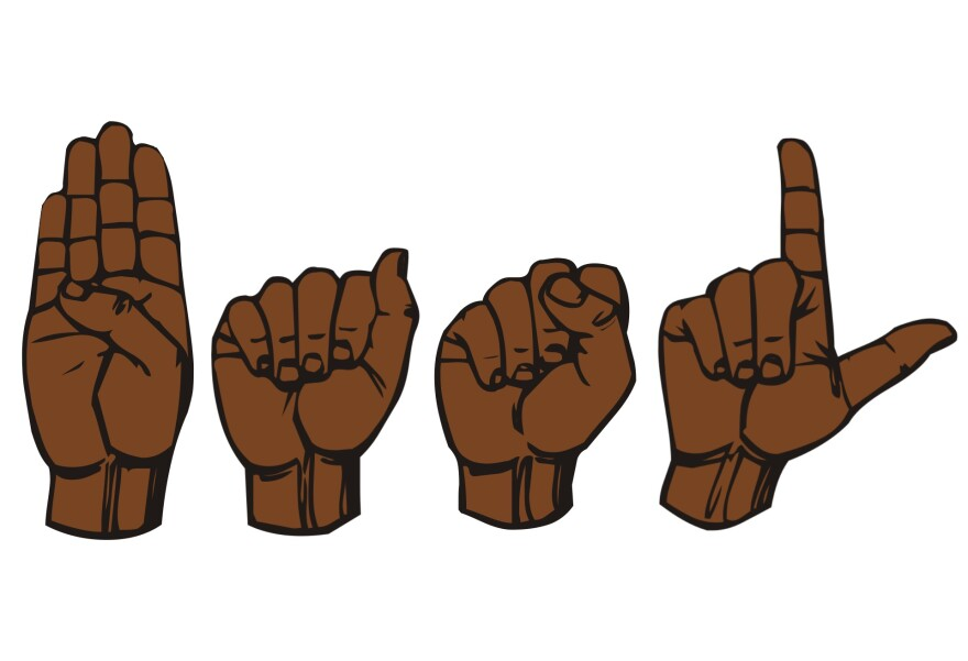 The signs for the letters B, A, S, and L, the initials for Black American Sign Language.
