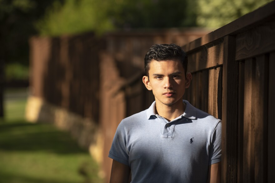 Izcan Ordaz, an 18-year old high school senior who voted for the first time earlier this year in the Texas Democratic primary, is photographed outside his home in Keller, Texas in May 2020. He is now a freshman at the University of Texas at Austin.